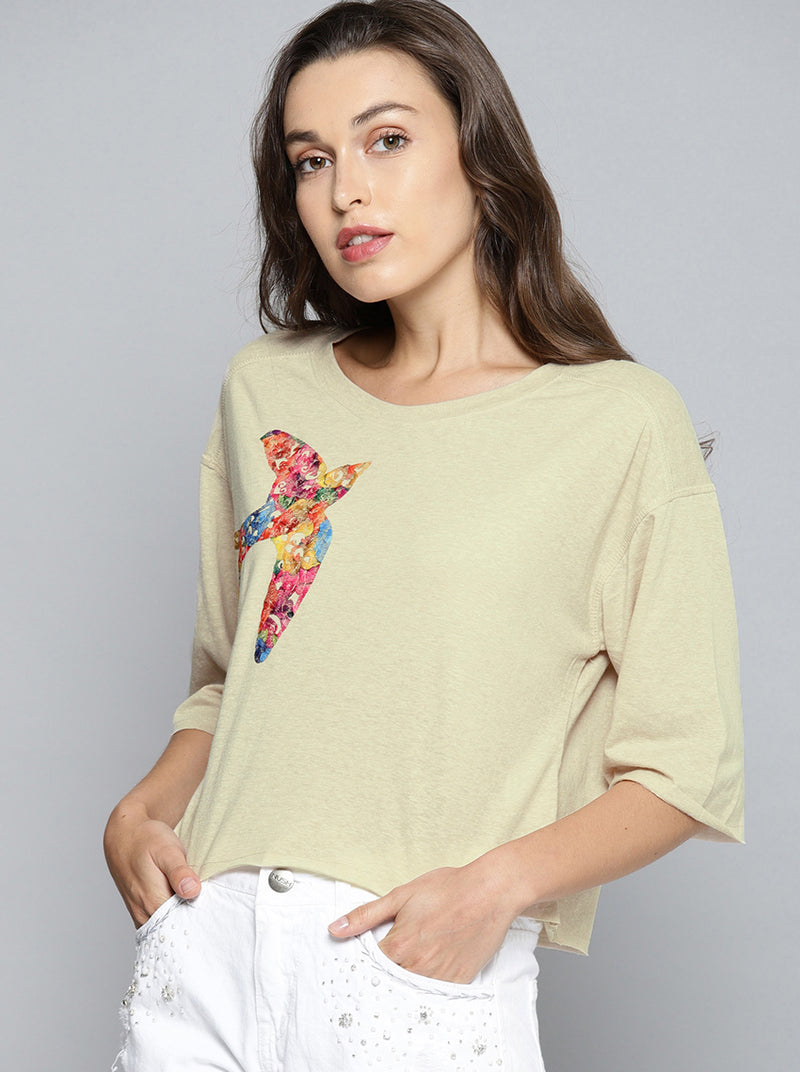 Beige Printed Top