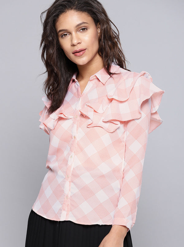 Pink & White Regular Fit Checked Casual Shirt