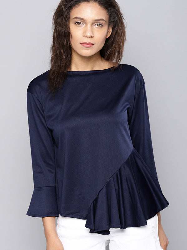 Navy Blue Solid Top Boat Neck