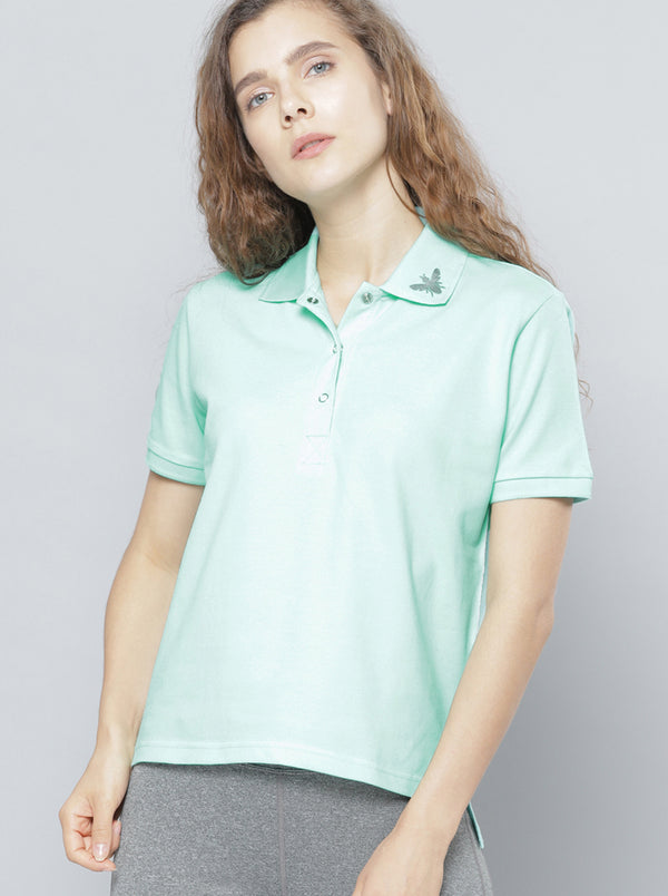 Sea Green Solid Polo Collar T-shirt