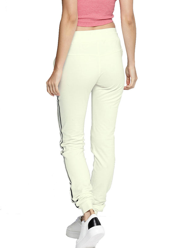 White Relaxed Straight Fit Solid Joggers