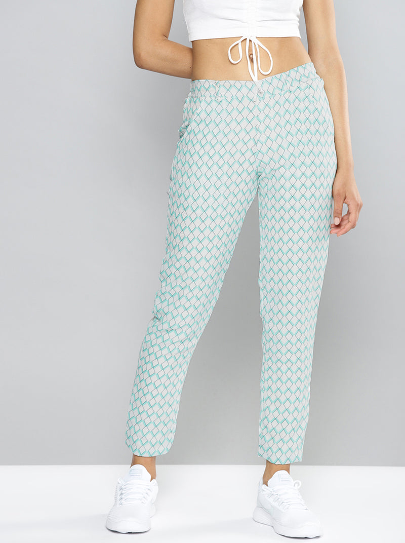 White & Blue Relaxed Loose Fit Printed Trousers