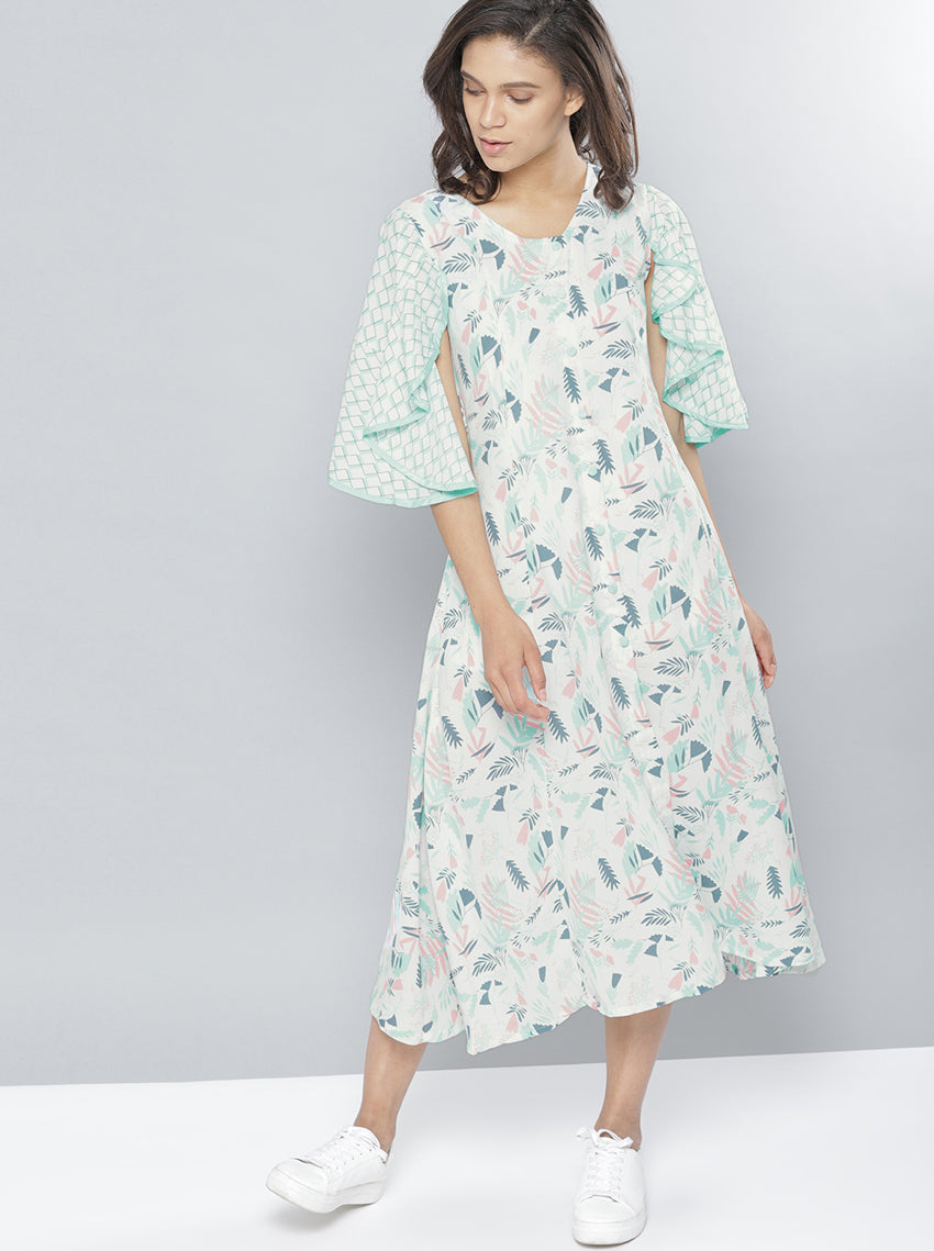 White Printed A-Line Dress