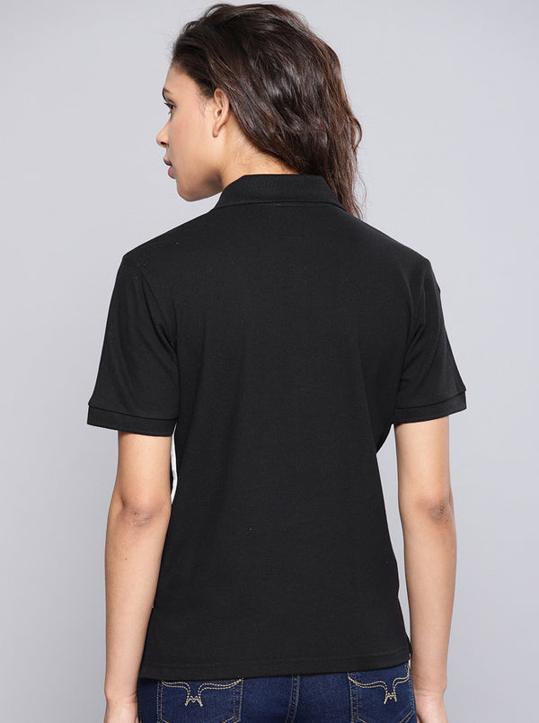 Black Solid Polo Collar T-shirt