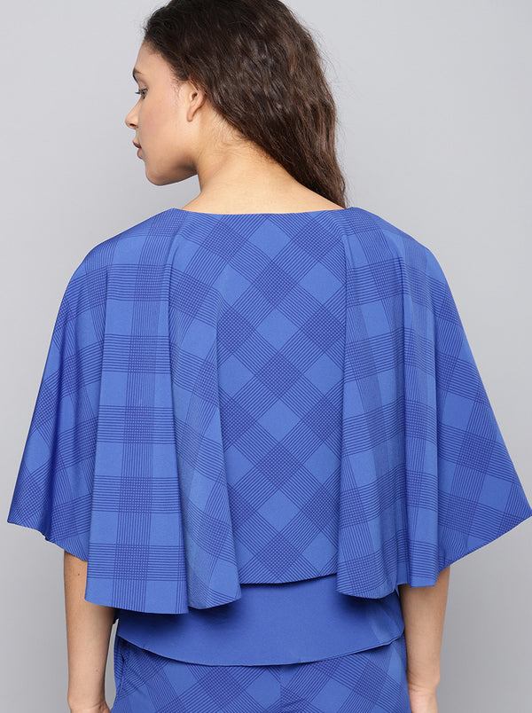 Blue Checked Boxy Top