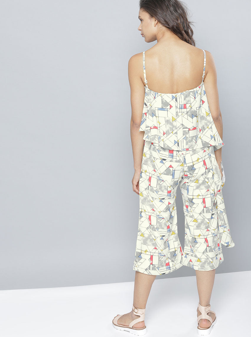 White Printed Culotte Jumpsuit