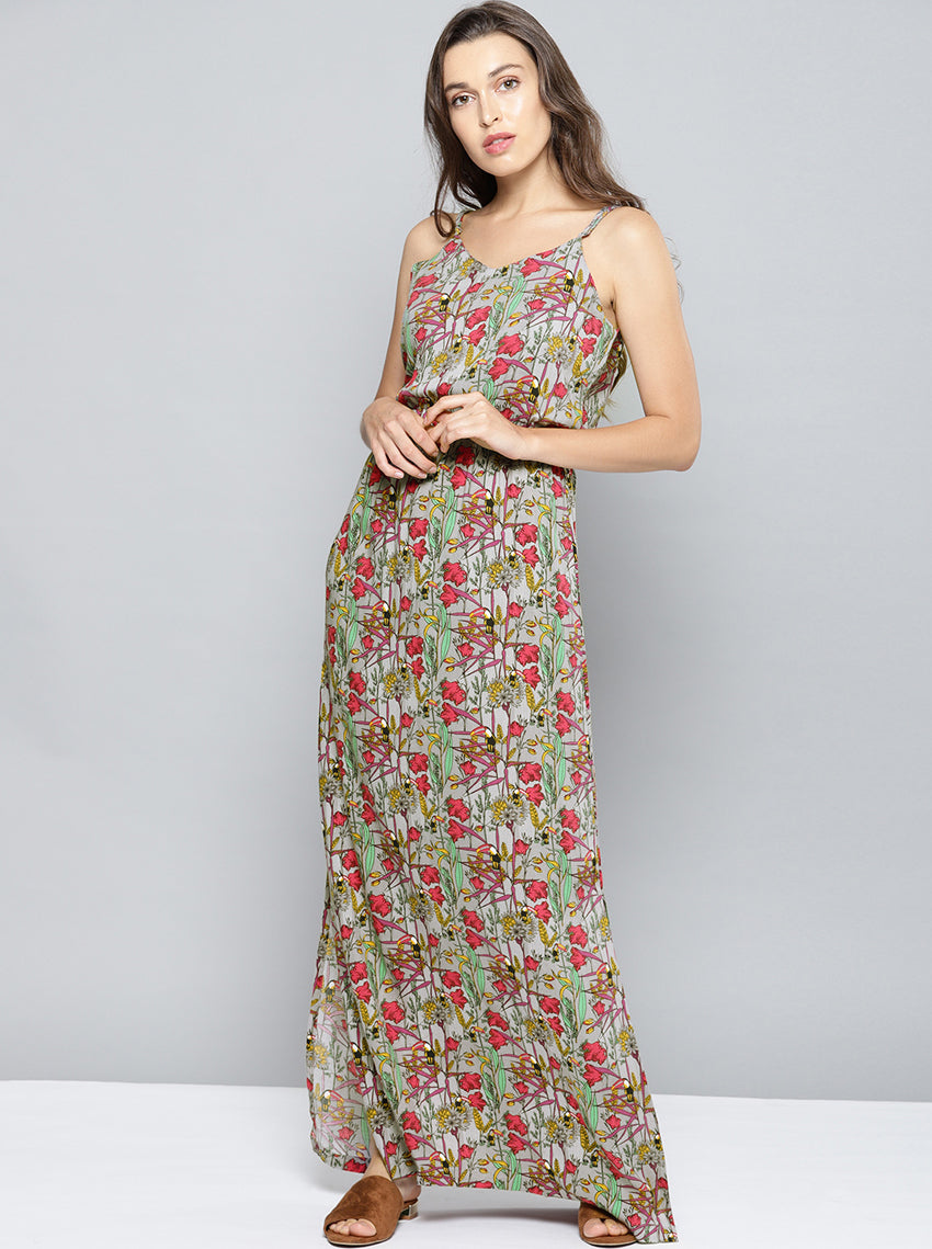 Grey Printed Maxi Dress