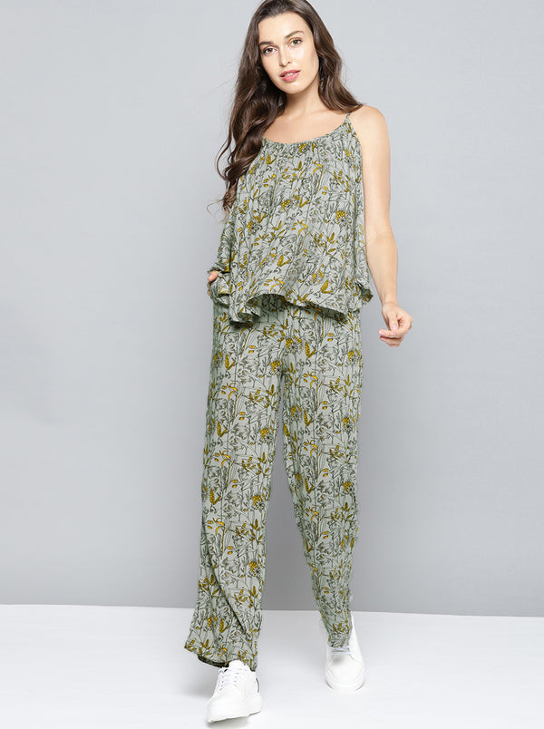 Grey & Yellow Printed Culotte Jumpsuit