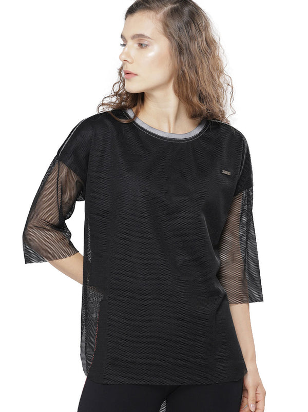 Black Self Design Round Neck T-shirt