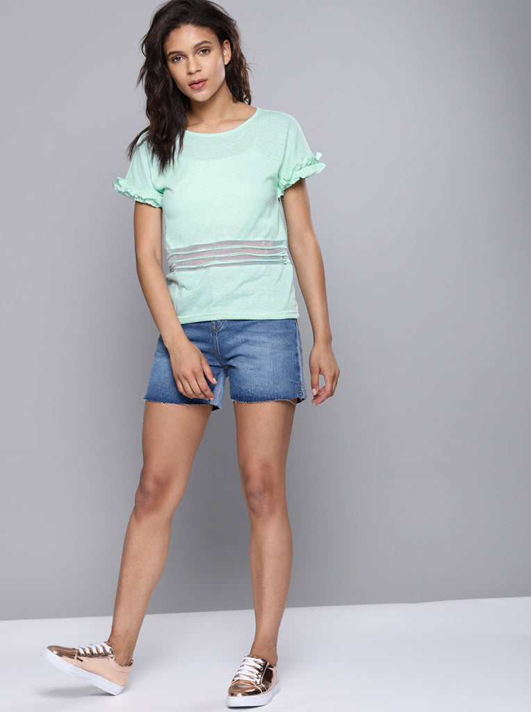 Sea Solid Round Neck T-shirt