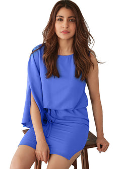 Blue Solid Fit and Flare Dress