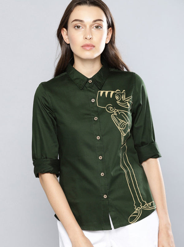 Olive Green Regular Fit Printed Casual Shirt
