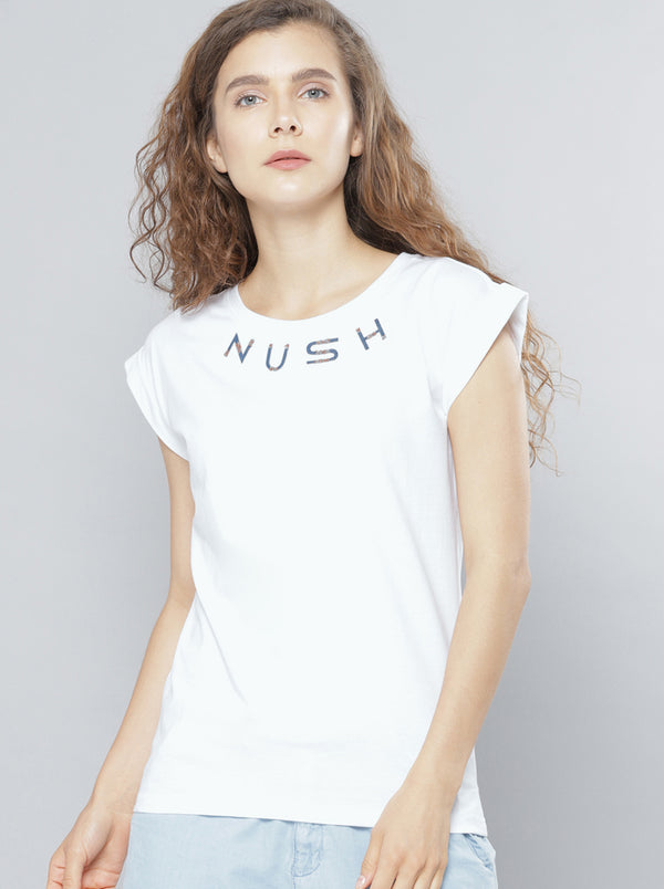 White Solid Round Neck T-shirt
