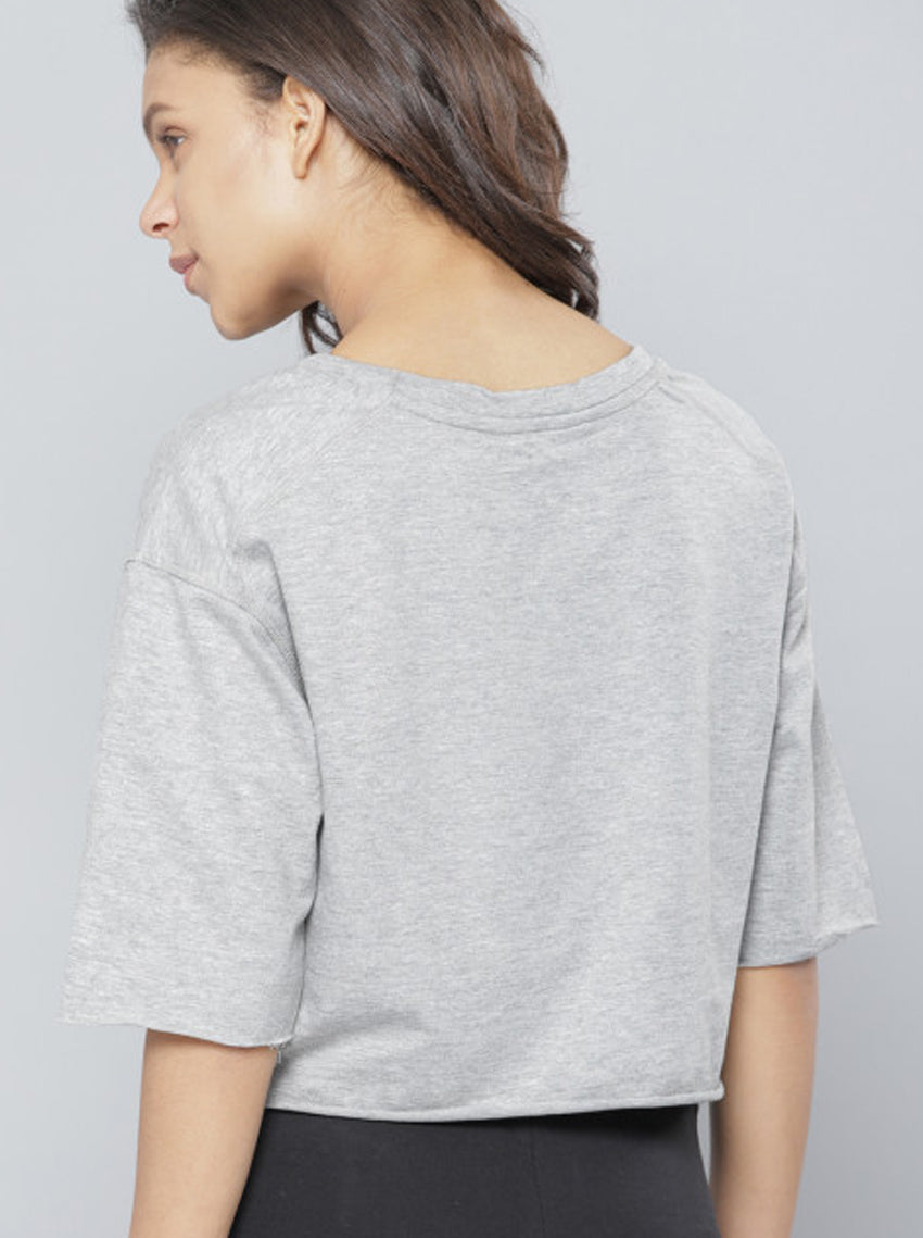 Grey Melange Solid Round Neck T-shirt