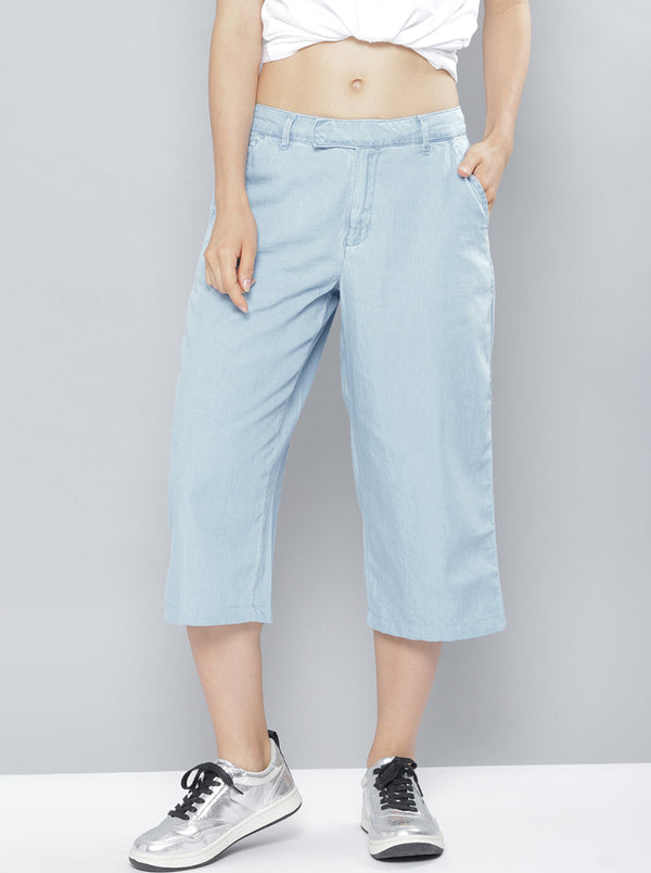 Blue Relaxed Loose Fit Solid Culottes