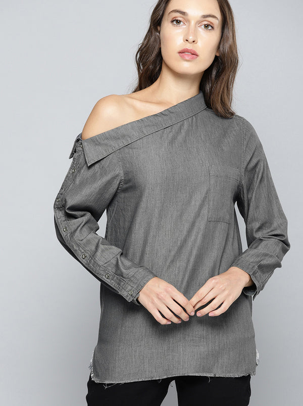 Charcoal Grey One-Shoulder Solid Top