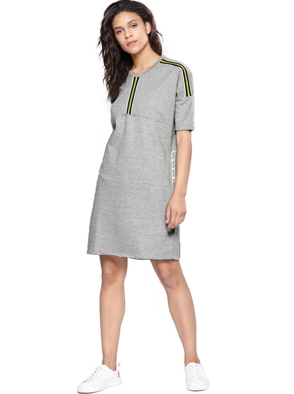 Grey Melange Solid T-shirt Dress