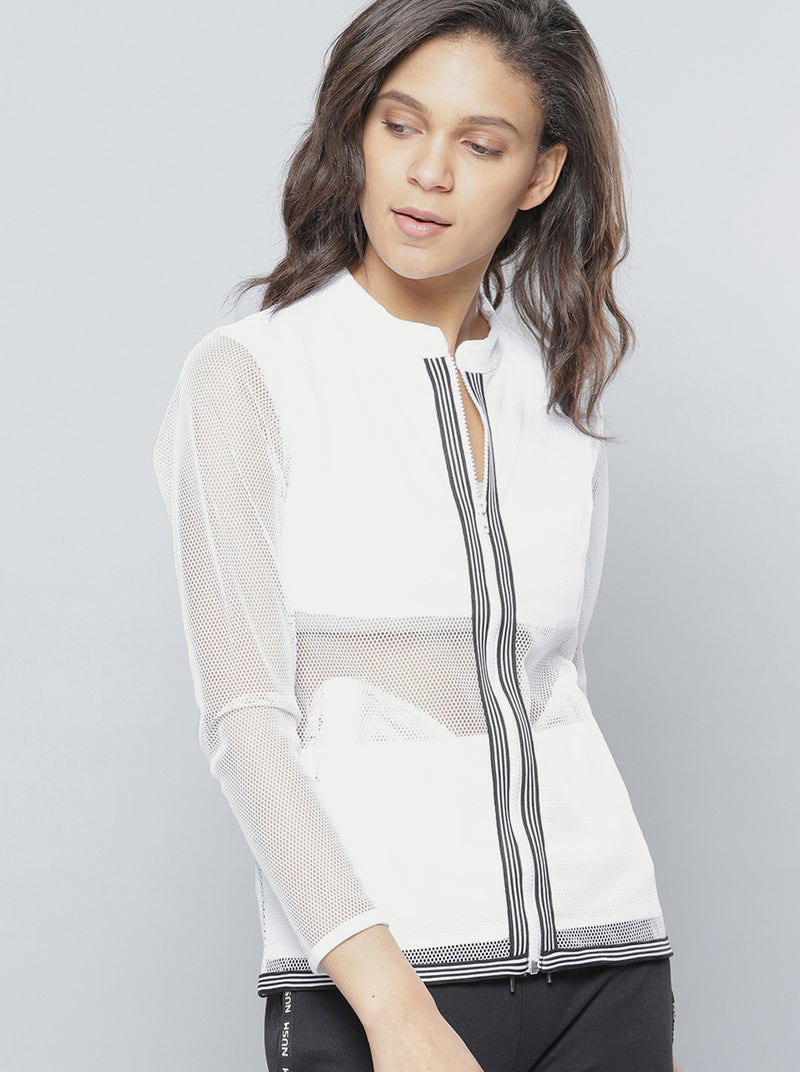 White Self Design Semi-Sheer Sporty Jacket