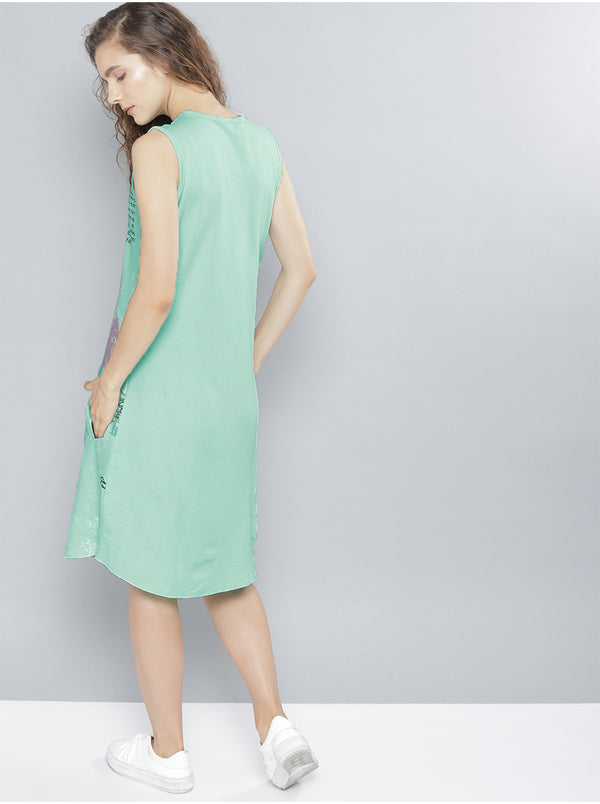 Green Printed A-Line Dress