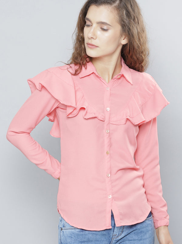 Pink Regular Fit Solid Casual Shirt