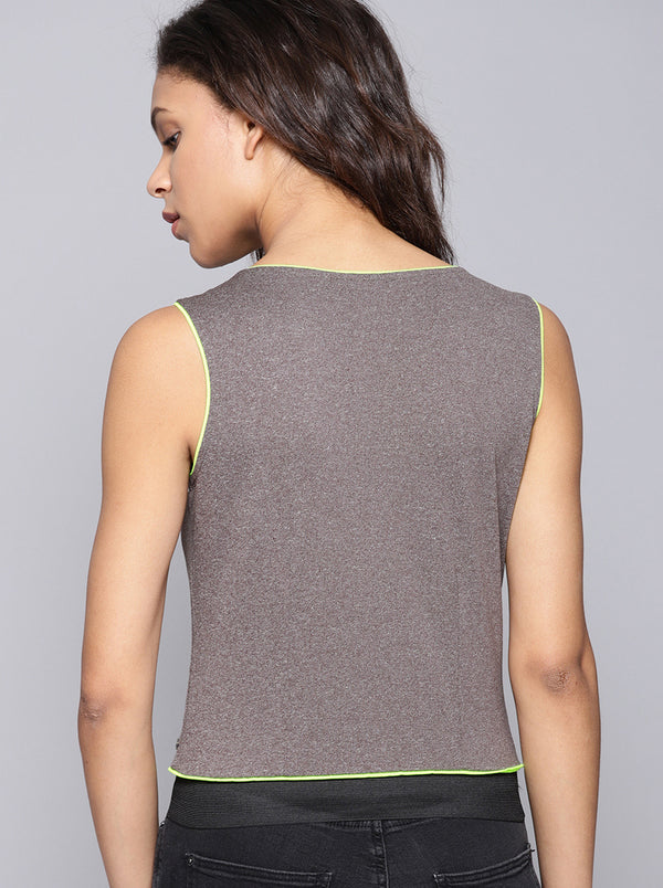 Grey Solid Top Round Neck