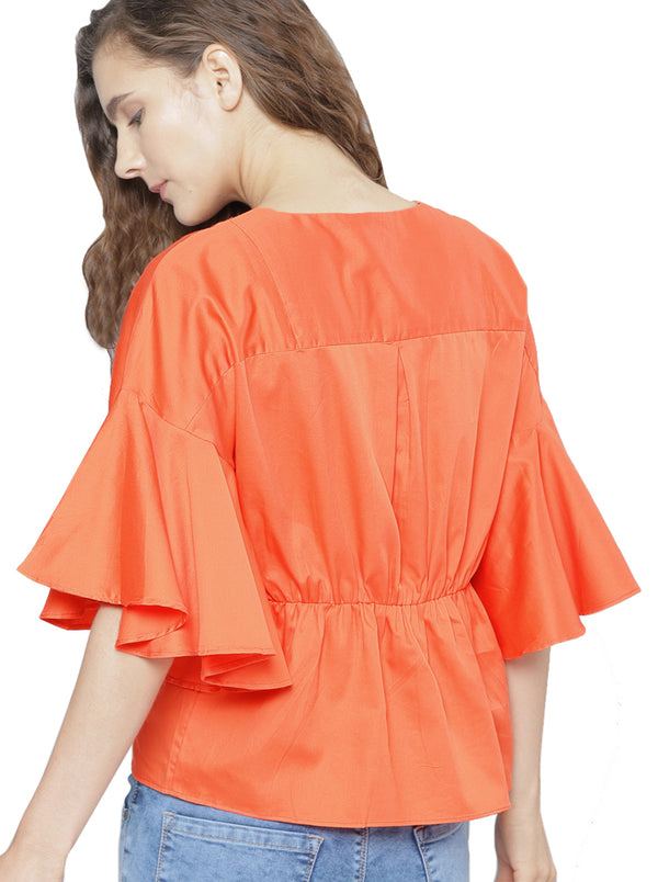Orange Solid Top V-neck