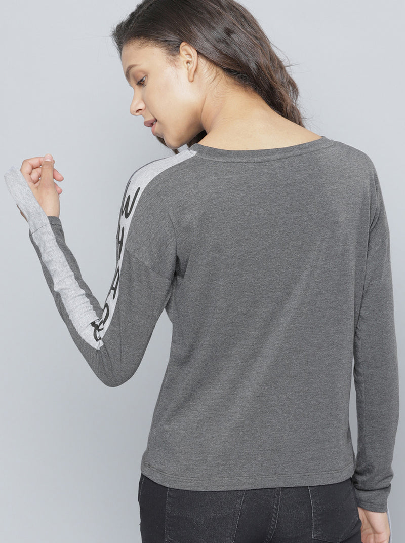 Charcoal Solid Round Neck T-shirt