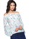 Off-white & Turquoise Blue Printed Off-shoulder Bardot Top