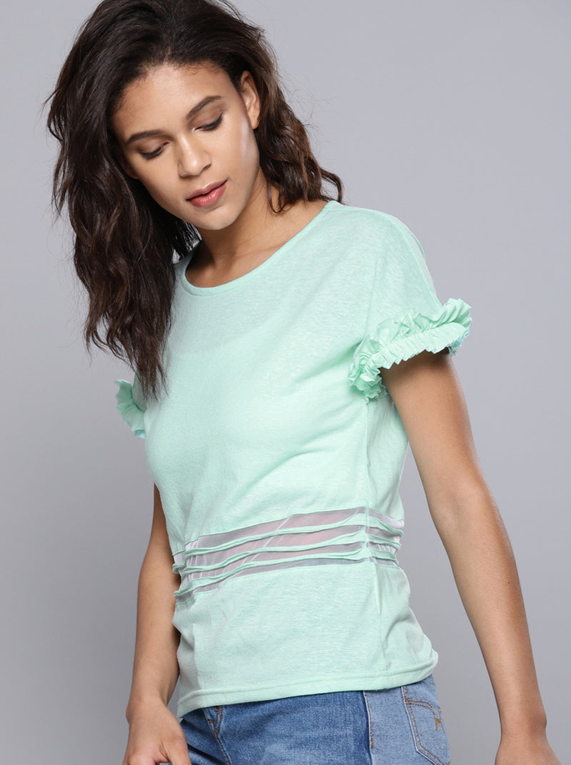 Sea Green Solid Round Neck T-shirt