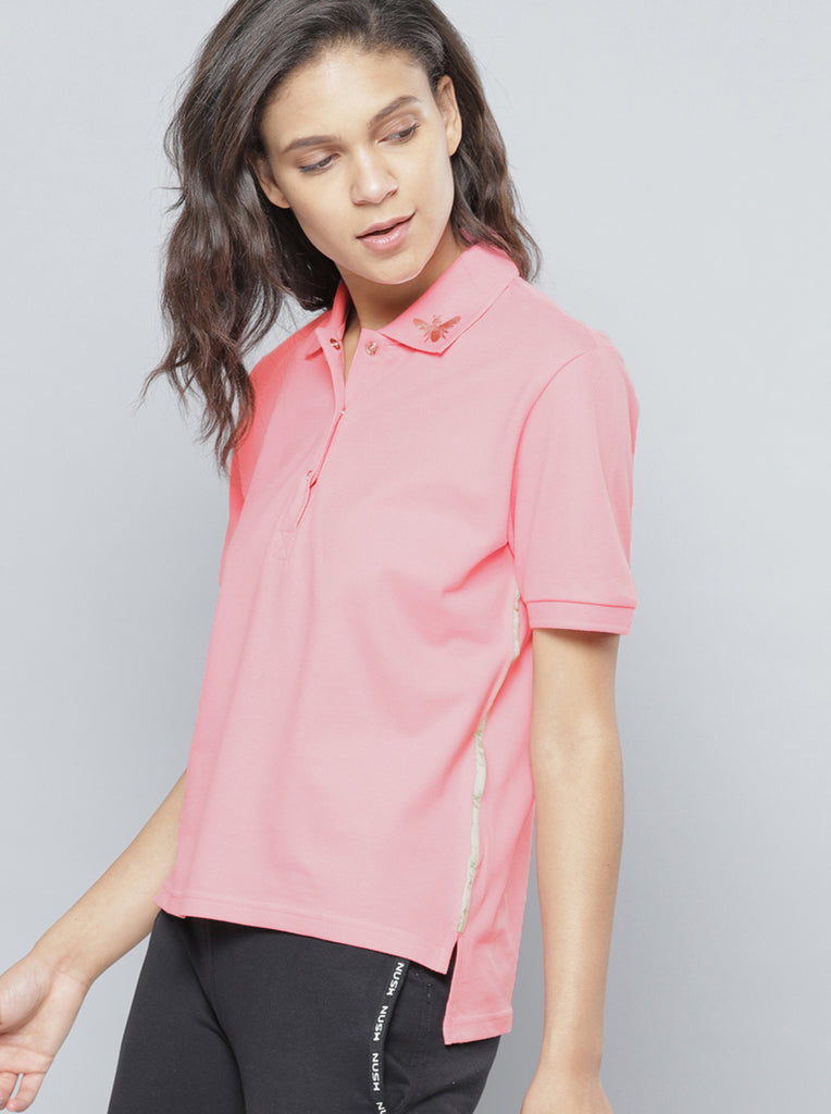 Solid Polo Collar T-shirt