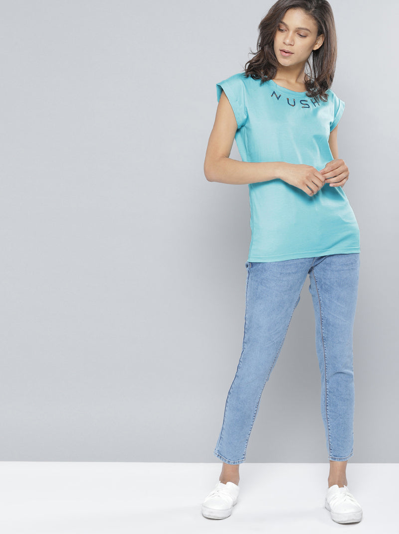Blue Solid Round Neck T-shirt