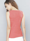 Coral Pink Solid Top Tie-up Neck