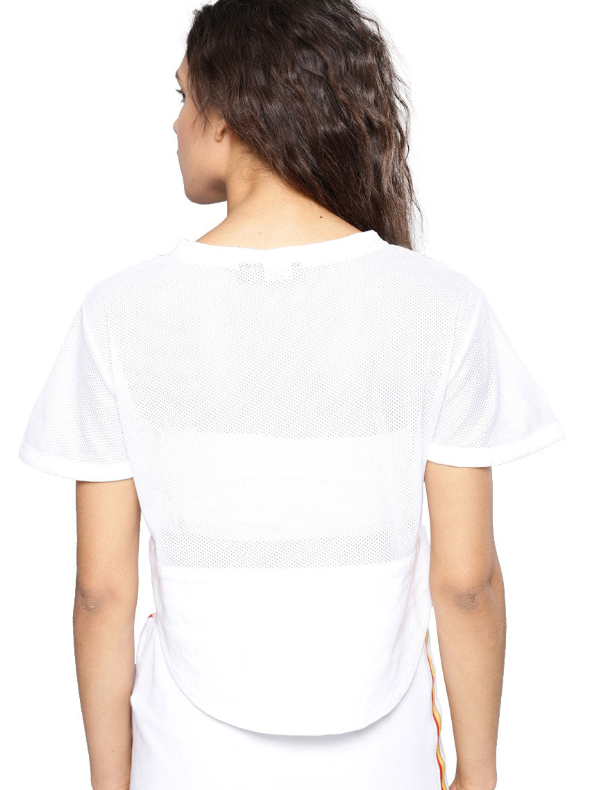 White Self Design Sheer Boxy Top