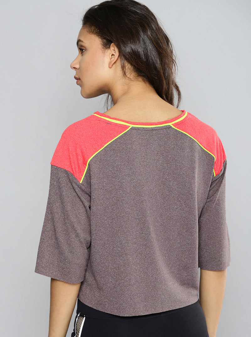 Charcoal Grey Solid Boat Neck Crop T-shirt