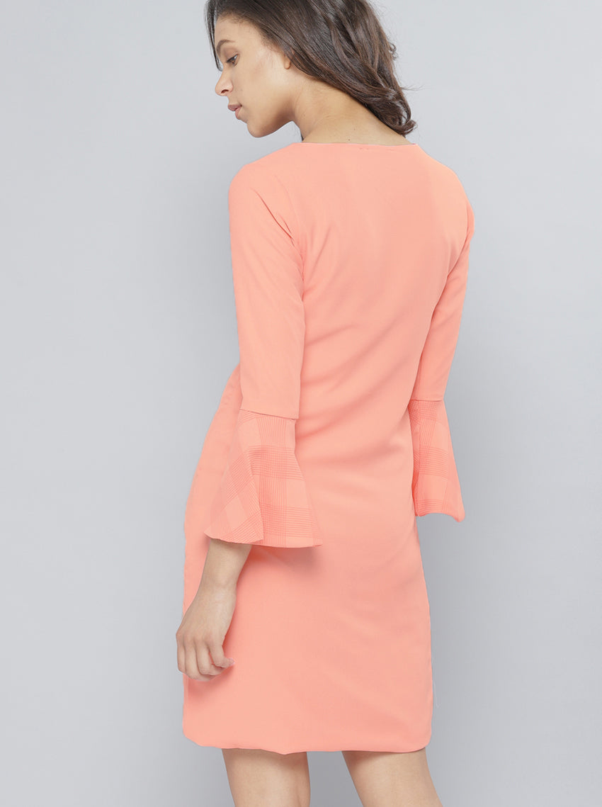 Pink Solid Sheath Dress