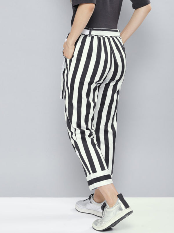 Black & White Relaxed Loose Fit Striped Regular Trousers