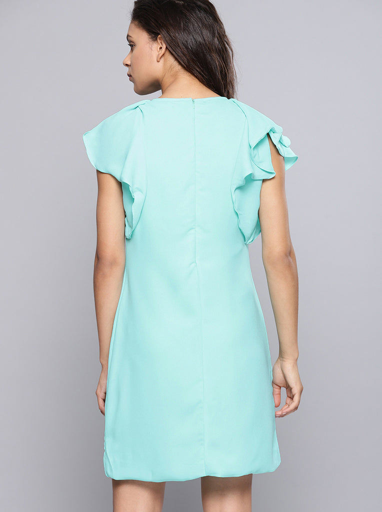 Solid A-Line Dress Round Neck