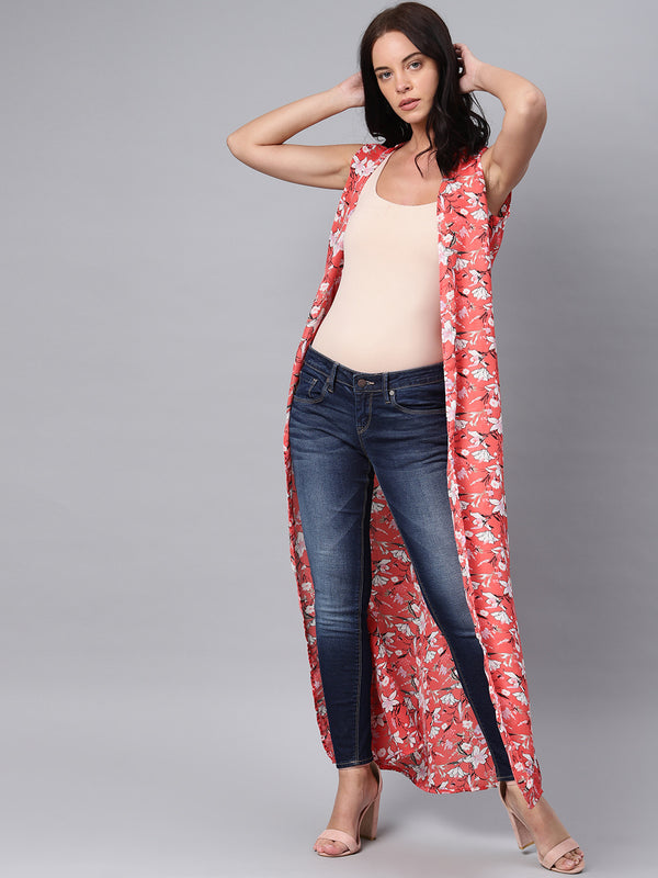 Printed Front Open Long Shrug