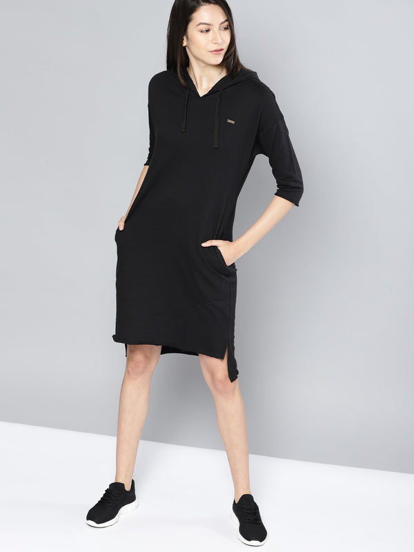 Black Solid Sweater Dress