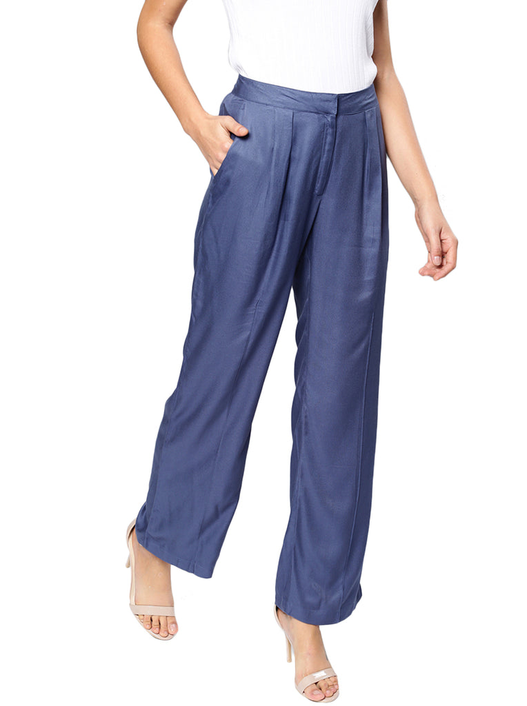Relaxed Loose Fit Self Design Bootcut Trousers