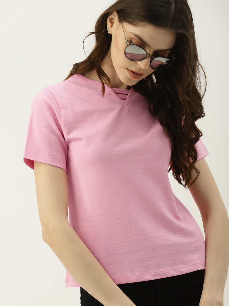 Solid Top With Neck Detail & Brand Logo