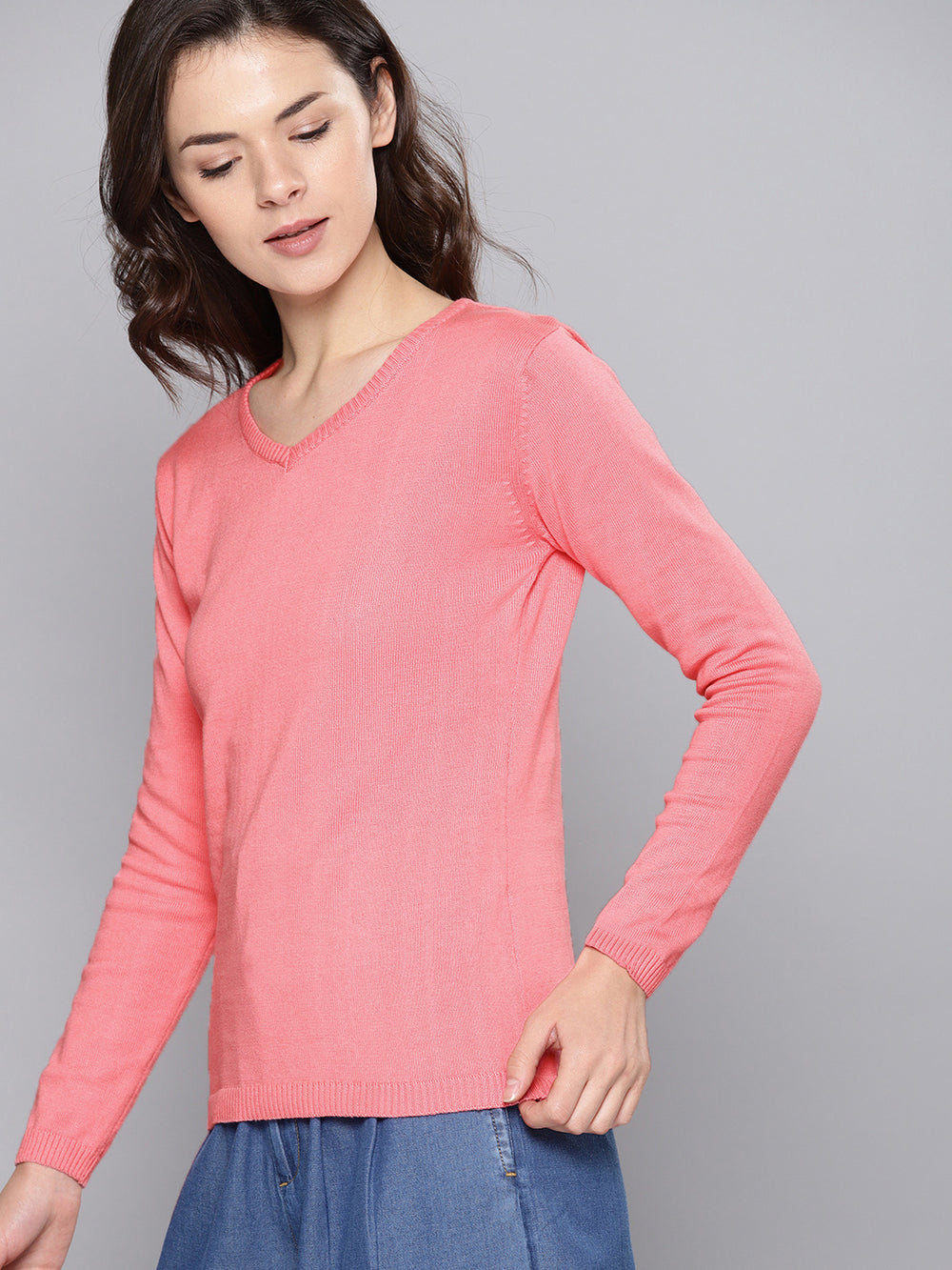 Coral Solid Pullover