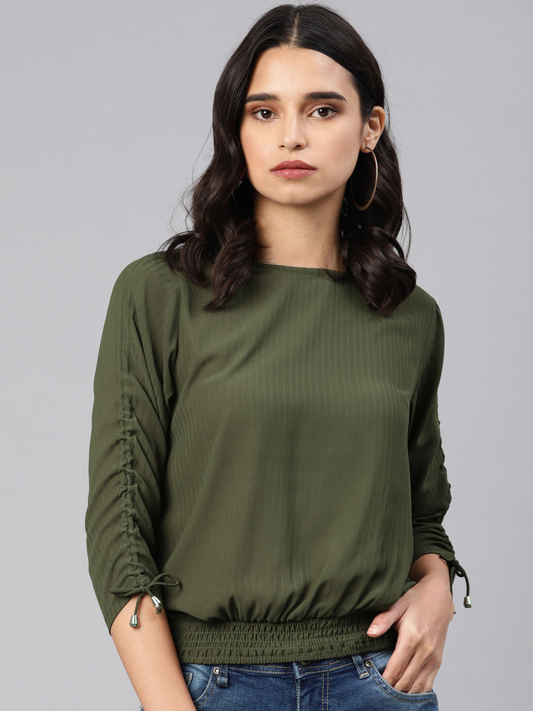 Round Neck Top With Elastic Bottom
