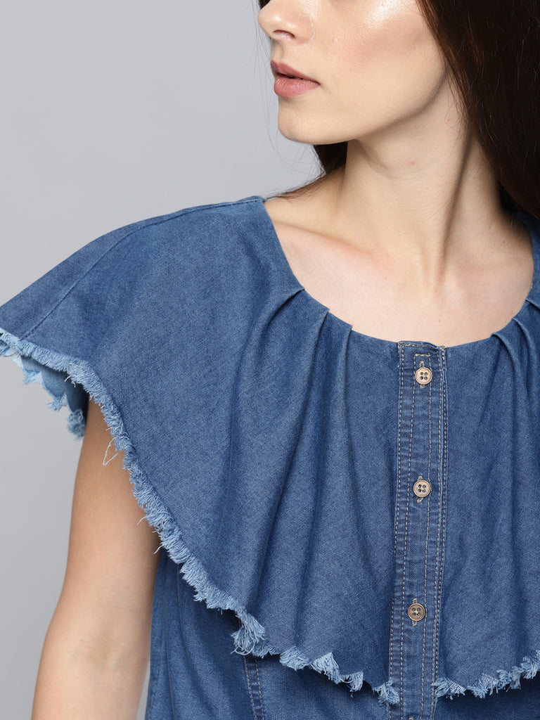 Solid Shirt Style LayeDenim Top