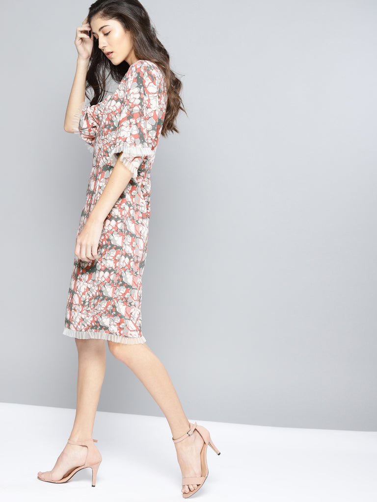 Printed Sheath Dress Round Neck