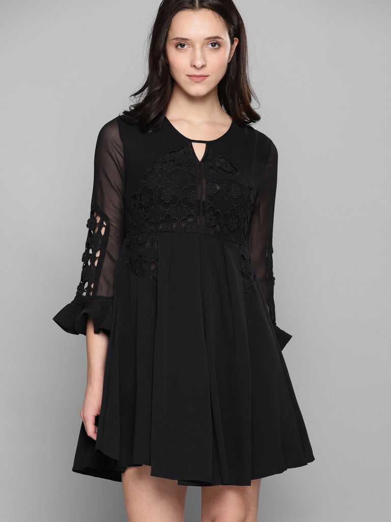 FLARE DRESS WITH LACE