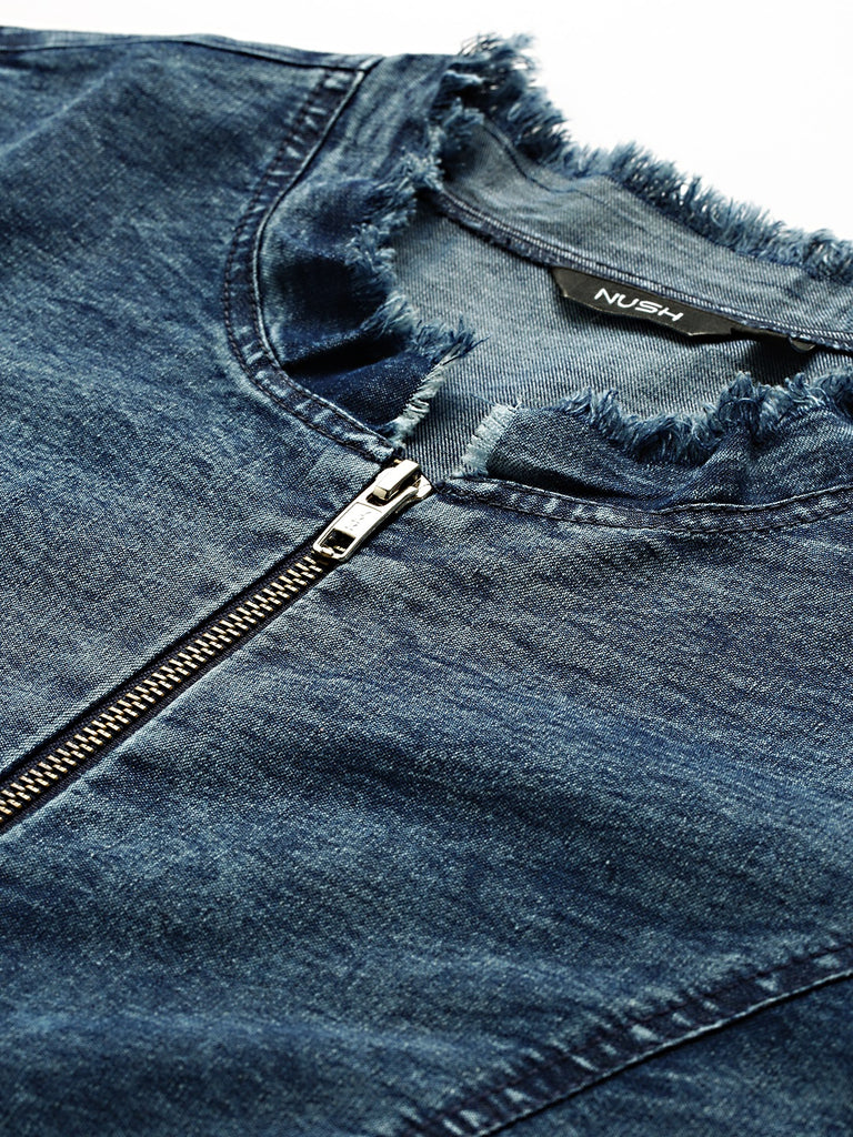 ZIPPER FRONT FREYED EDGE