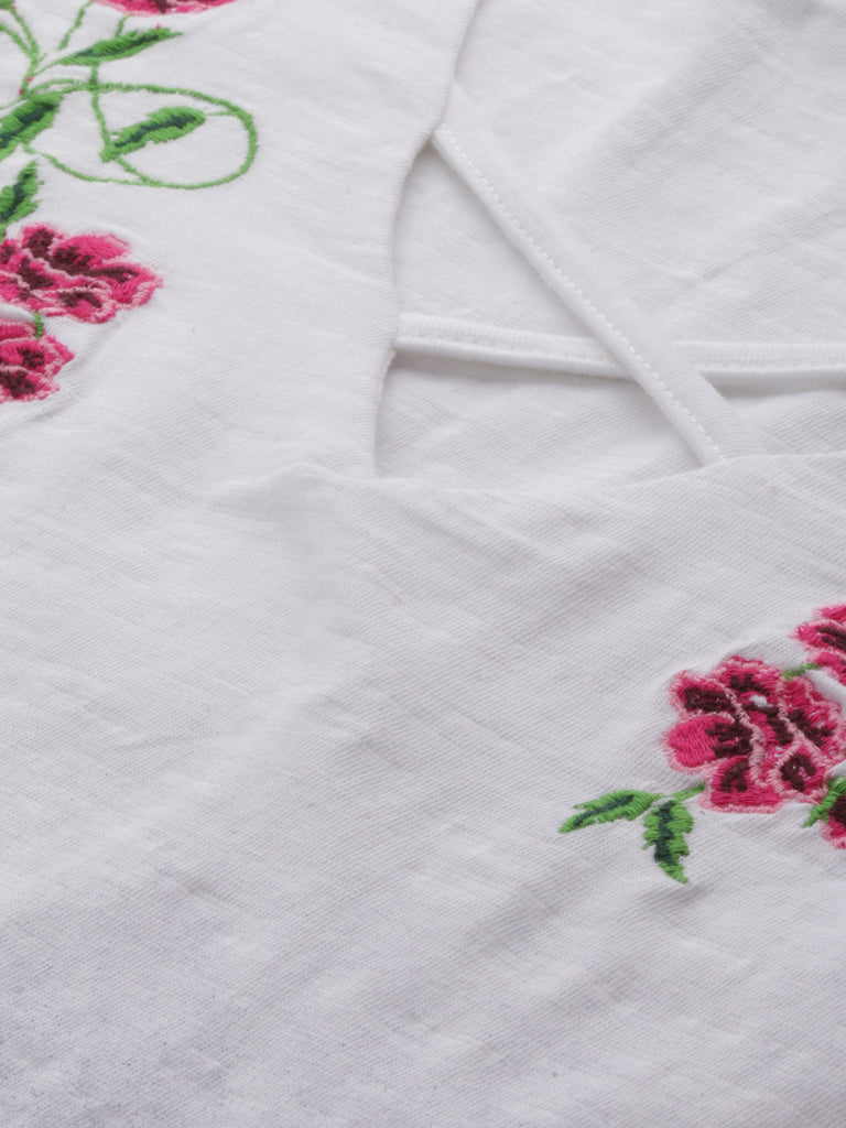 V Neck Embroiderd Top
