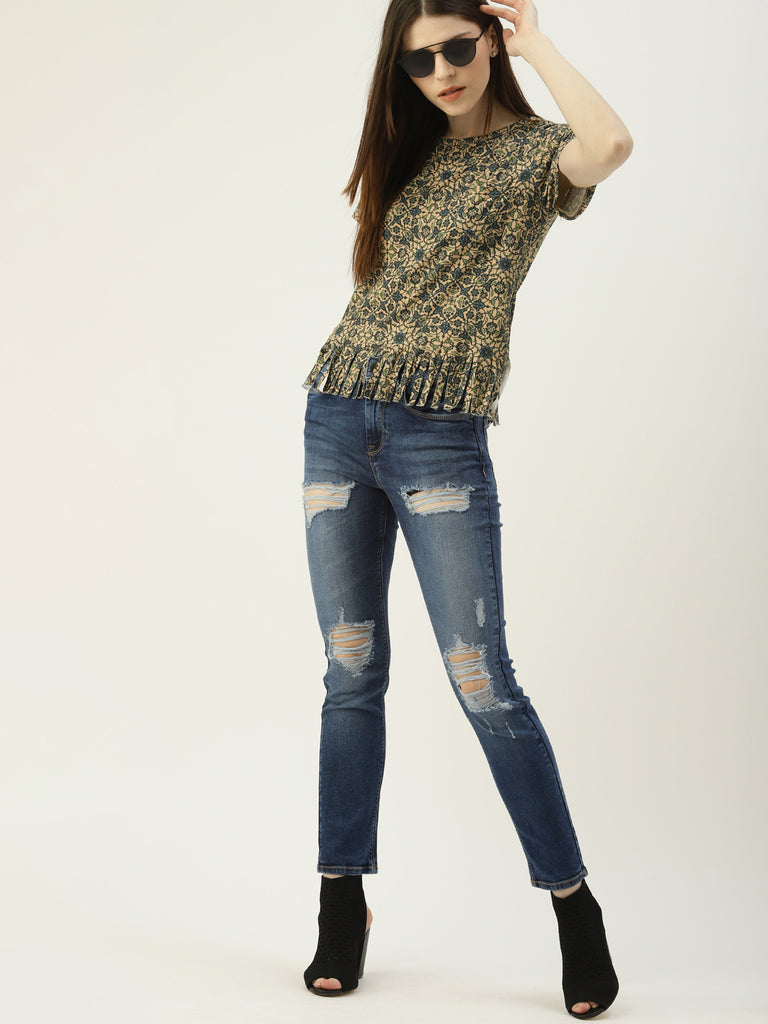 Printed Round Tee With  Fringes At Hem