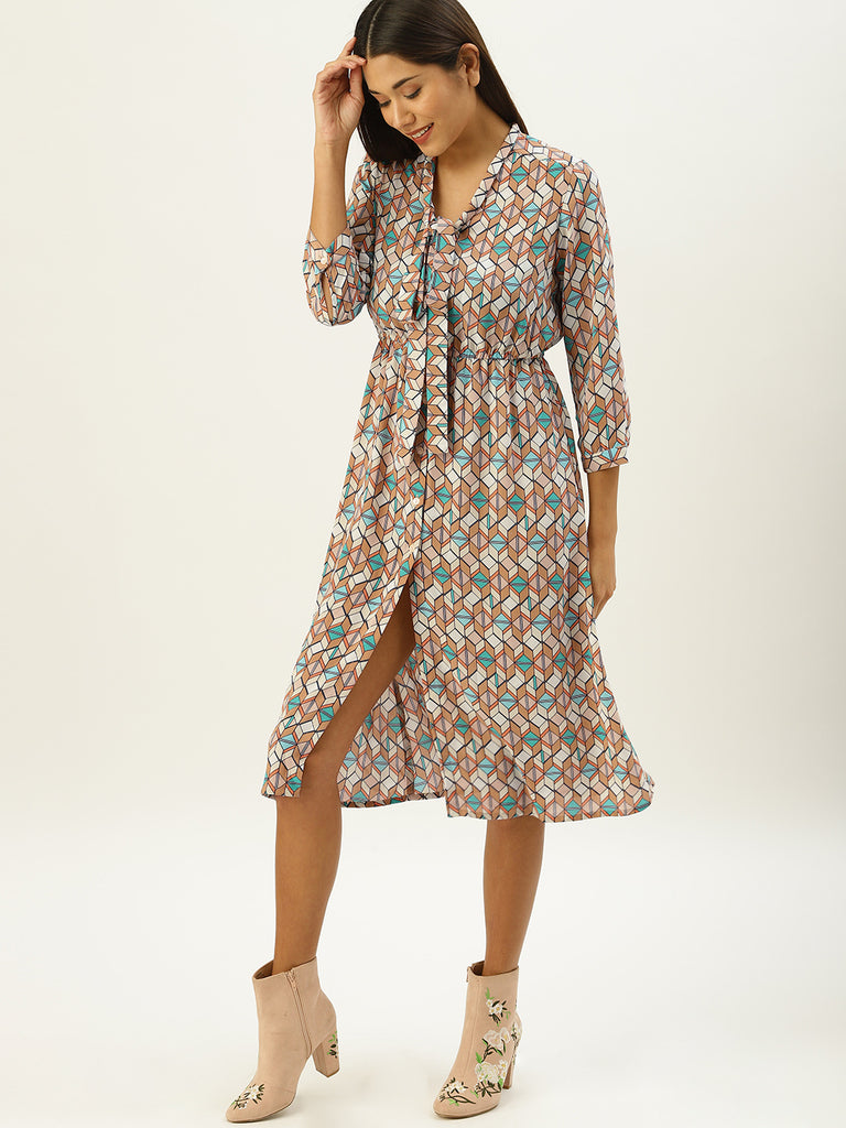 Shirt Dress With Neck Tie Up